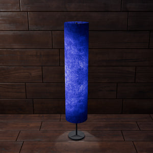 Drum Floor Lamp - P59 - Navy Blue Lokta, 22cm(d) x 114cm(h)