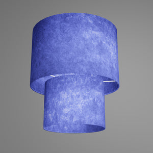 2 Tier Lamp Shade - P59 - Navy Blue Lokta, 30cm x 20cm & 20cm x 15cm