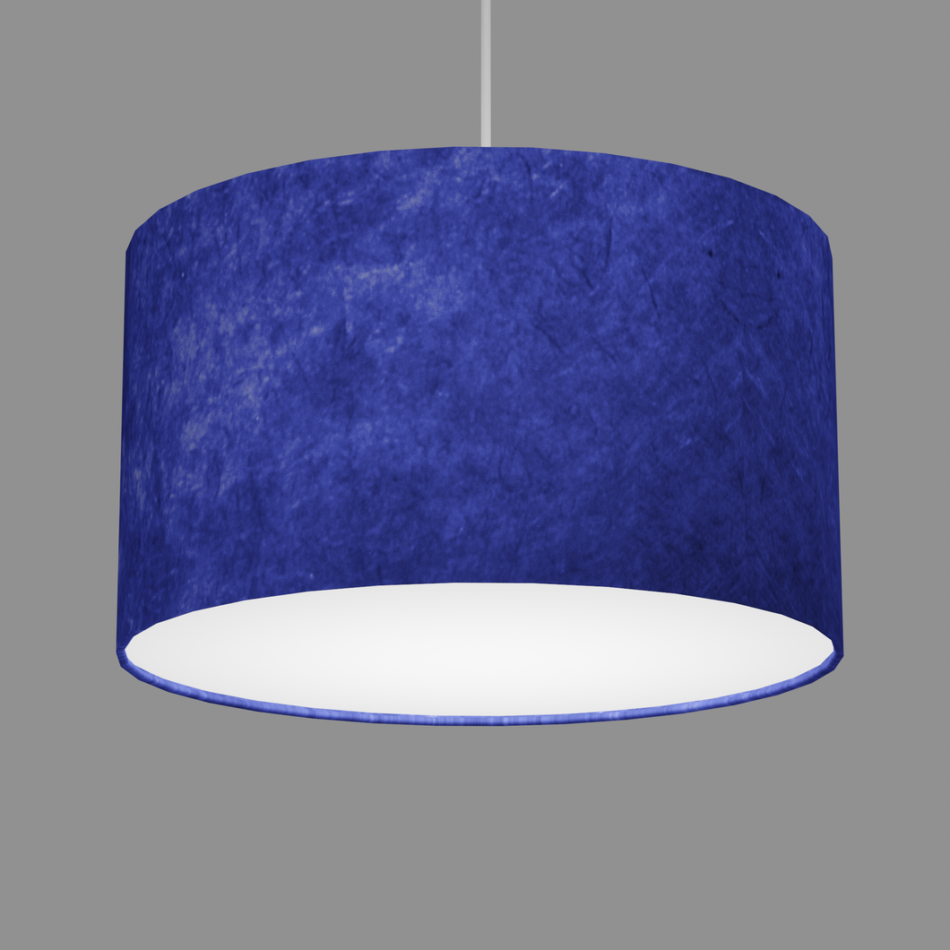Drum Lamp Shade - P59 - Navy Blue Lokta, 35cm(d) x 20cm(h)