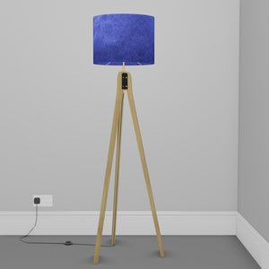 Oak Tripod Floor Lamp - P59 - Navy Blue Lokta