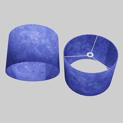 Drum Lamp Shade - P59 - Navy Blue Lokta, 40cm(d) x 30cm(h)