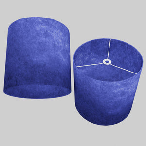 Drum Lamp Shade - P59 - Navy Blue Lokta, 40cm(d) x 40cm(h)