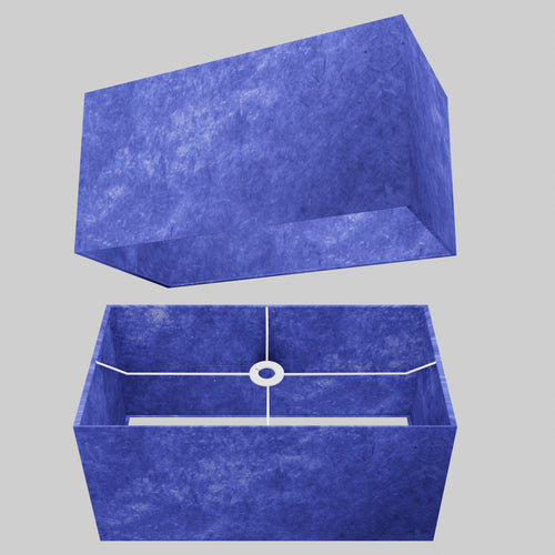 Rectangle Lamp Shade - P59 - Navy Blue Lokta, 50cm(w) x 25cm(h) x 25cm(d)