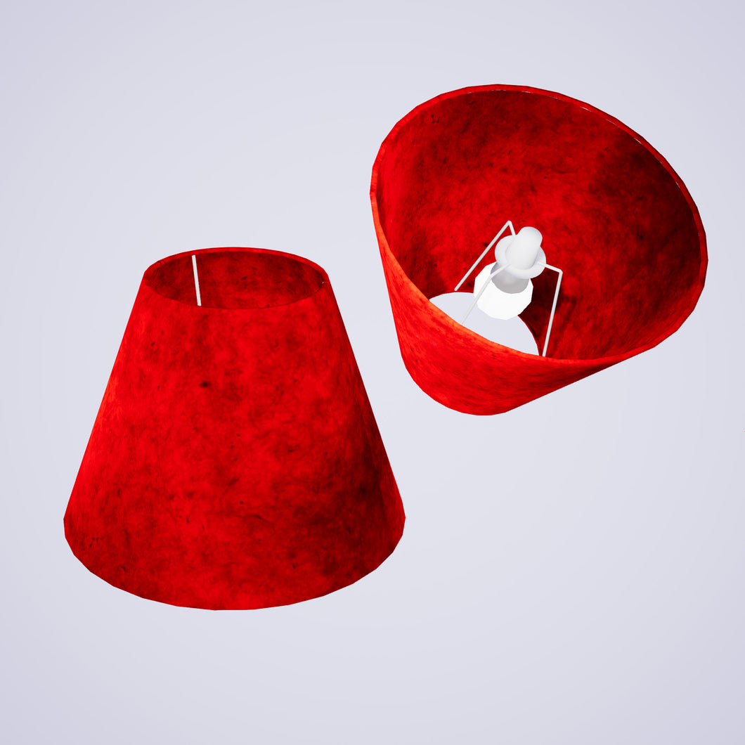 Conical Lamp Shade P60 - Red Lokta, 15cm(top) x 30cm(bottom) x 22cm(height)