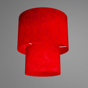2 Tier Lamp Shade - P60 - Red Lokta, 30cm x 20cm & 20cm x 15cm