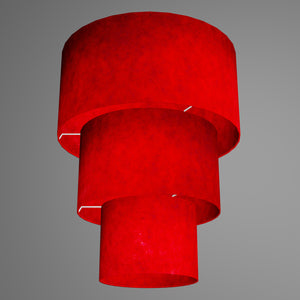 3 Tier Lamp Shade - P60 - Red Lokta, 40cm x 20cm, 30cm x 17.5cm & 20cm x 15cm