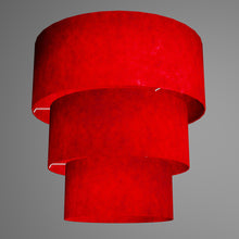 3 Tier Lamp Shade - P60 - Red Lokta, 50cm x 20cm, 40cm x 17.5cm & 30cm x 15cm