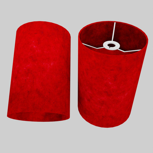 Drum Lamp Shade - P60 - Red Lokta, 20cm(d) x 30cm(h)