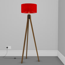 Sapele Tripod Floor Lamp - P60 - Red Lokta