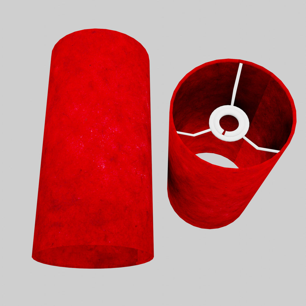 Drum Lamp Shade - P60 - Red Lokta, 15cm(d) x 30cm(h)