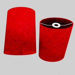 Oval Lamp Shade - P60 - Red Lokta, 20cm(w) x 30cm(h) x 13cm(d)