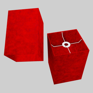 Square Lamp Shade - P60 - Red Lokta, 20cm(w) x 30cm(h) x 20cm(d)