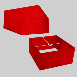 Square Lamp Shade - P60 - Red Lokta, 40cm(w) x 20cm(h) x 40cm(d)