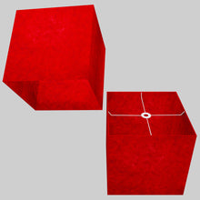 Square Lamp Shade - P60 - Red Lokta, 40cm(w) x 40cm(h) x 40cm(d)