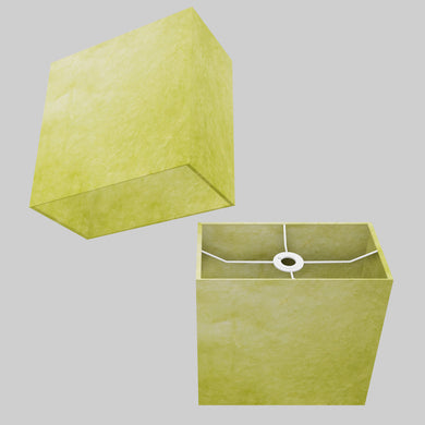 Rectangle Lamp Shade - P61 - Lime Lokta, 30cm(w) x 30cm(h) x 15cm(d)