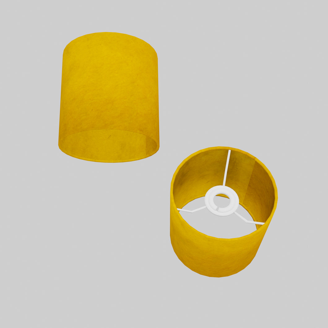 Drum Lamp Shade - P62 - Yellow Lokta, 15cm(d) x 15cm(h)