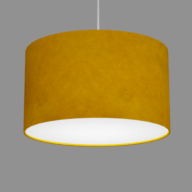 Drum Lamp Shade - P62 - Yellow Lokta, 35cm(d) x 20cm(h)