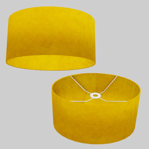 Oval Lamp Shade - P62 - Yellow Lokta, 40cm(w) x 20cm(h) x 30cm(d)