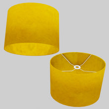 Oval Lamp Shade - P62 - Yellow Lokta, 40cm(w) x 30cm(h) x 30cm(d)