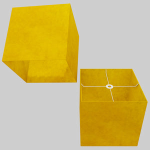 Square Lamp Shade - P62 - Yellow Lokta, 40cm(w) x 40cm(h) x 40cm(d)