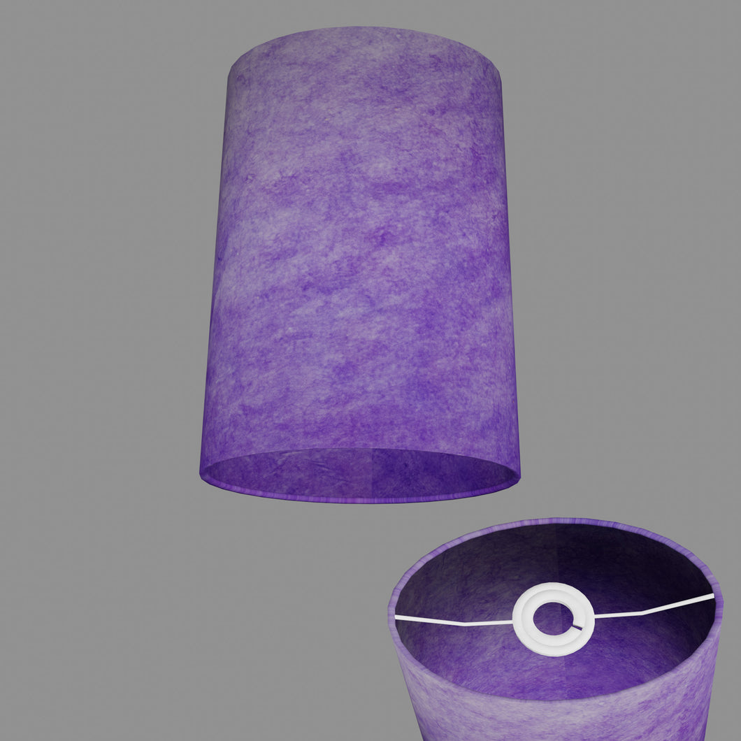 Oval Lamp Shade - P64 - Purple Lokta, 20cm(w) x 30cm(h) x 13cm(d)