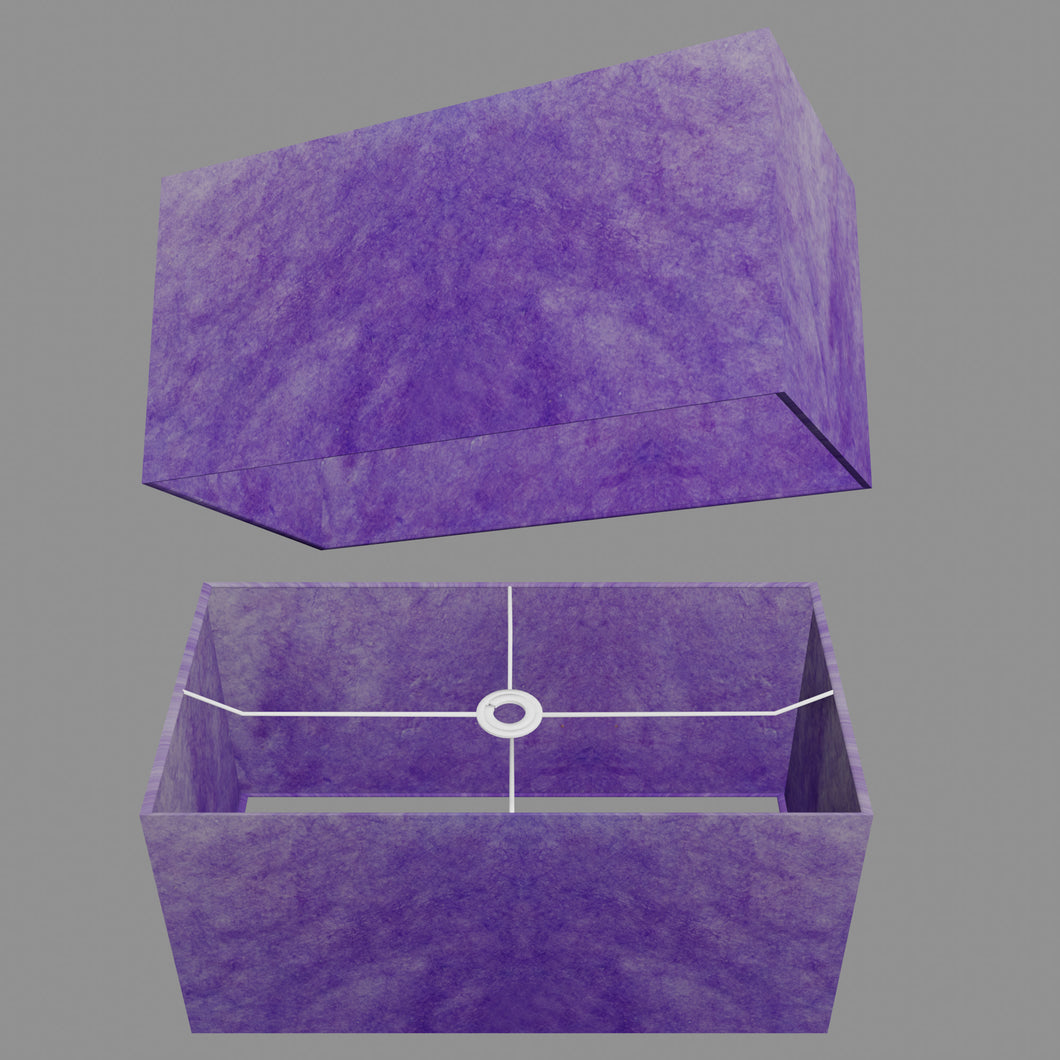 Rectangle Lamp Shade - P64 - Purple Lokta, 50cm(w) x 25cm(h) x 25cm(d)
