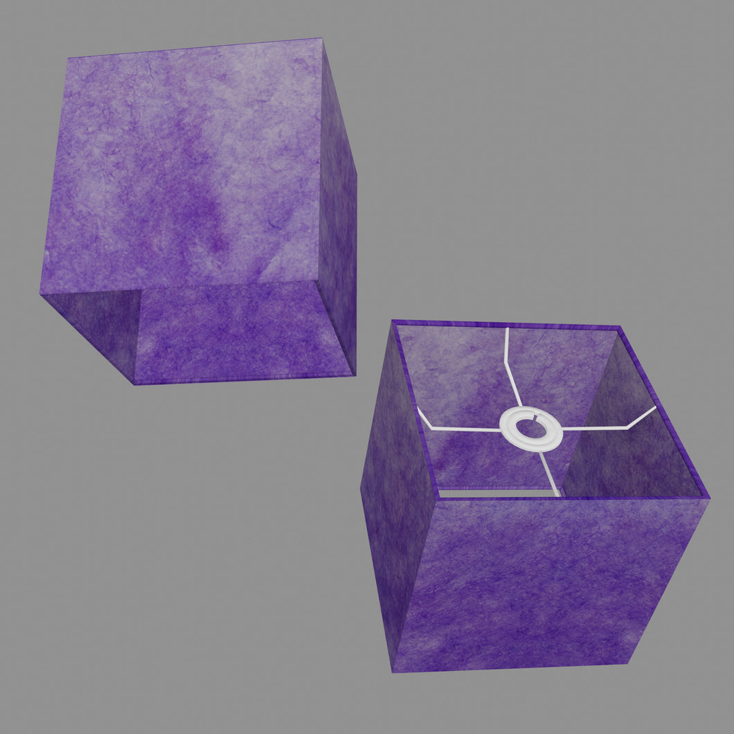 Square Lamp Shade - P64 - Purple Lokta, 20cm(w) x 20cm(h) x 20cm(d)