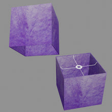 Square Lamp Shade - P64 - Purple Lokta, 30cm(w) x 30cm(h) x 30cm(d)