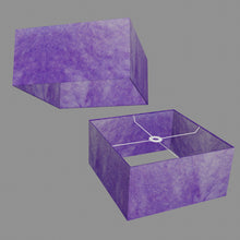Square Lamp Shade - P64 - Purple Lokta, 40cm(w) x 20cm(h) x 40cm(d)