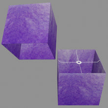 Square Lamp Shade - P64 - Purple Lokta, 40cm(w) x 40cm(h) x 40cm(d)