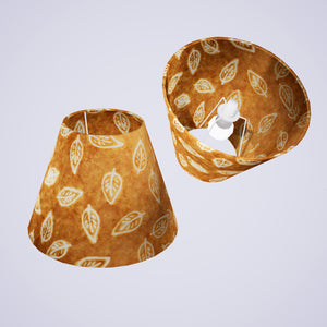 Conical Lamp Shade P66 - Batik Leaf on Camel, 15cm(top) x 30cm(bottom) x 22cm(height)