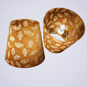 Conical Lamp Shade P66 - Batik Leaf on Camel, 23cm(top) x 35cm(bottom) x 31cm(height)