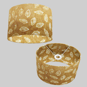 Oval Lamp Shade - P66 - Batik Leaf on Camel, 30cm(w) x 20cm(h) x 22cm(d)