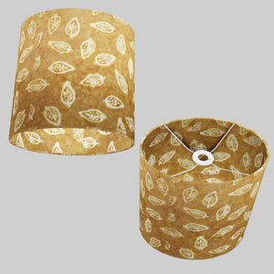 Oval Lamp Shade - P66 - Batik Leaf on Camel, 30cm(w) x 30cm(h) x 22cm(d)