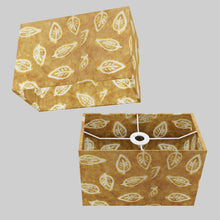 Rectangle Lamp Shade - P66 - Batik Leaf on Camel, 30cm(w) x 20cm(h) x 15cm(d)