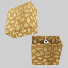 Rectangle Lamp Shade - P66 - Batik Leaf on Camel, 30cm(w) x 30cm(h) x 15cm(d)