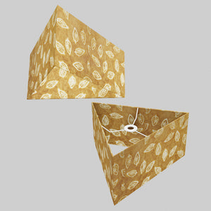Triangle Lamp Shade - P66 - Batik Leaf on Camel, 40cm(w) x 20cm(h)