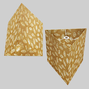 Triangle Lamp Shade - P66 - Batik Leaf on Camel, 40cm(w) x 40cm(h)
