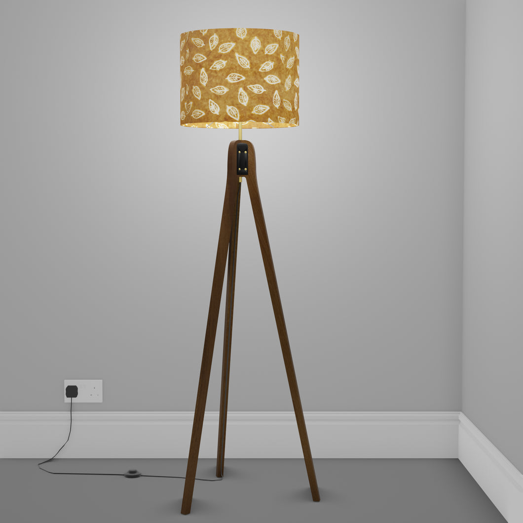 Sapele Tripod Floor Lamp - P66 - Batik Leaf on Camel