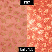 Drum Lamp Shade - P67 - Batik Leaf on Pink, 15cm(d) x 30cm(h) - Imbue Lighting