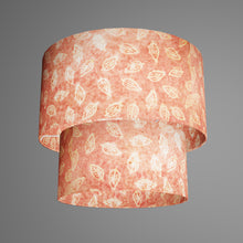 2 Tier Lamp Shade - P67 - Batik Leaf on Pink, 40cm x 20cm & 30cm x 15cm