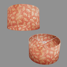 Drum Lamp Shade - P67 - Batik Leaf on Pink, 35cm(d) x 20cm(h)