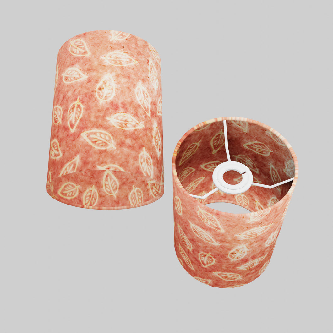 Drum Lamp Shade - P67 - Batik Leaf on Pink, 15cm(d) x 20cm(h)