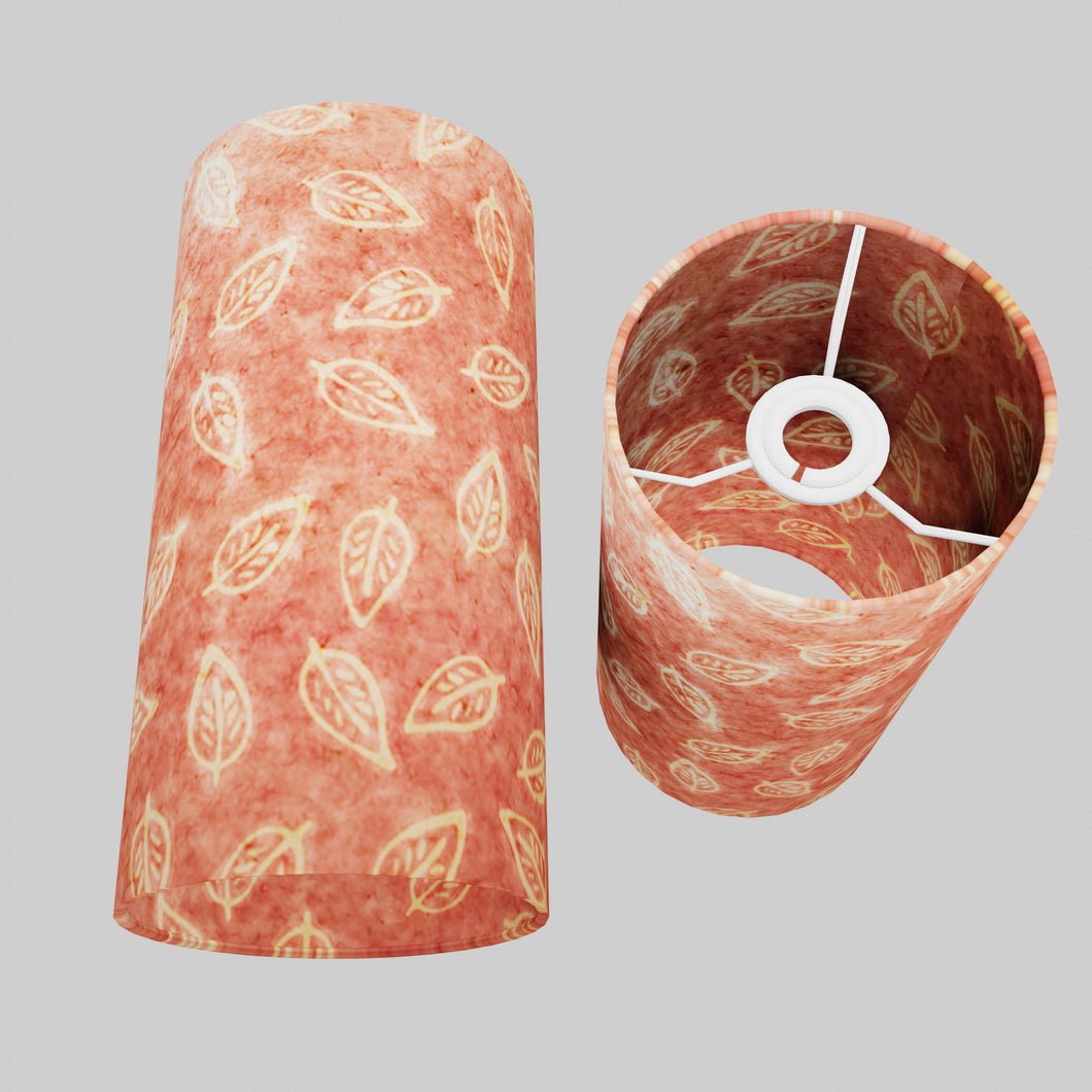 Drum Lamp Shade - P67 - Batik Leaf on Pink, 15cm(d) x 30cm(h)