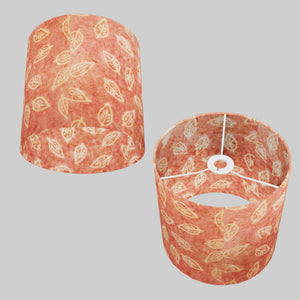 Drum Lamp Shade - P67 - Batik Leaf on Pink, 25cm x 25cm