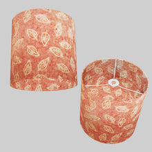 Drum Lamp Shade - P67 - Batik Leaf on Pink, 30cm(d) x 30cm(h)