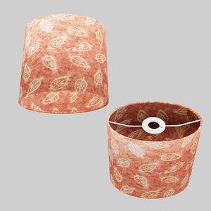 Oval Lamp Shade - P67 - Batik Leaf on Pink, 20cm(w) x 20cm(h) x 13cm(d)