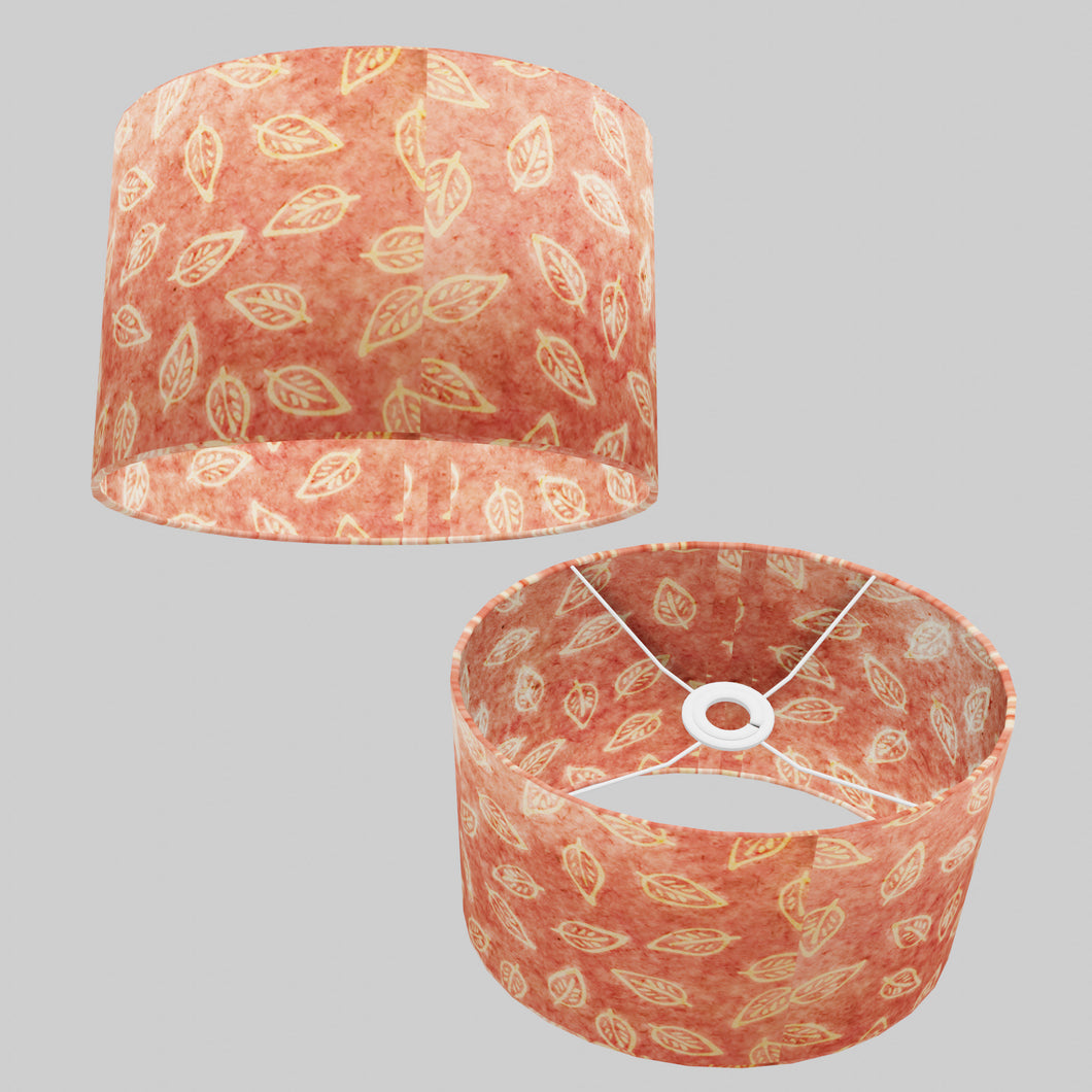 Oval Lamp Shade - P67 - Batik Leaf on Pink, 30cm(w) x 20cm(h) x 22cm(d)