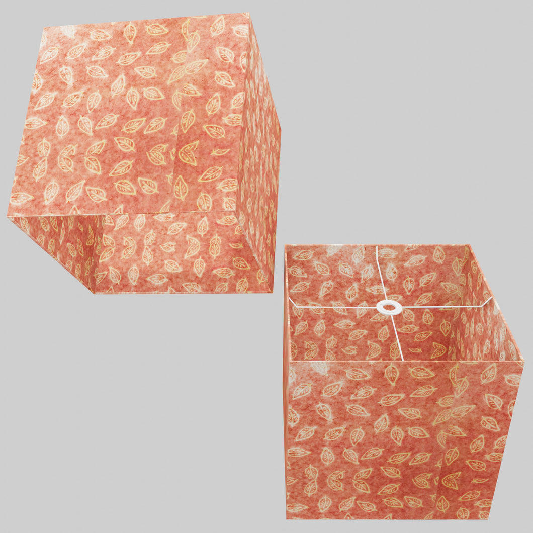 Square Lamp Shade - P67 - Batik Leaf on Pink, 40cm(w) x 40cm(h) x 40cm(d)