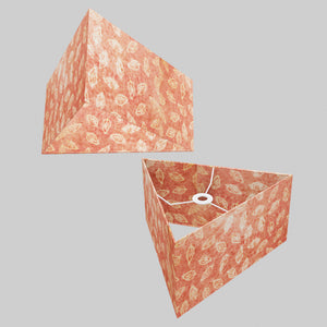 Triangle Lamp Shade - P67 - Batik Leaf on Pink, 40cm(w) x 20cm(h)